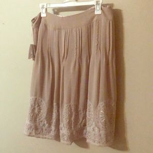 Chico's Beaded and embroidered beige skirt